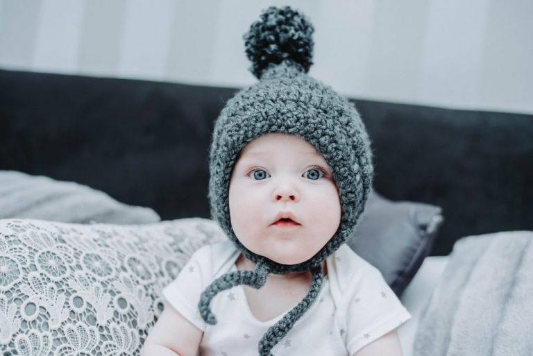baby wearing crochet hat